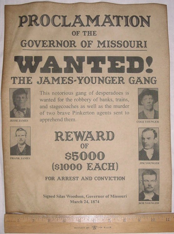 Old West Wanted Sign Luxury Big 11 X 14 James Younger Gang Wanted Poster Old West