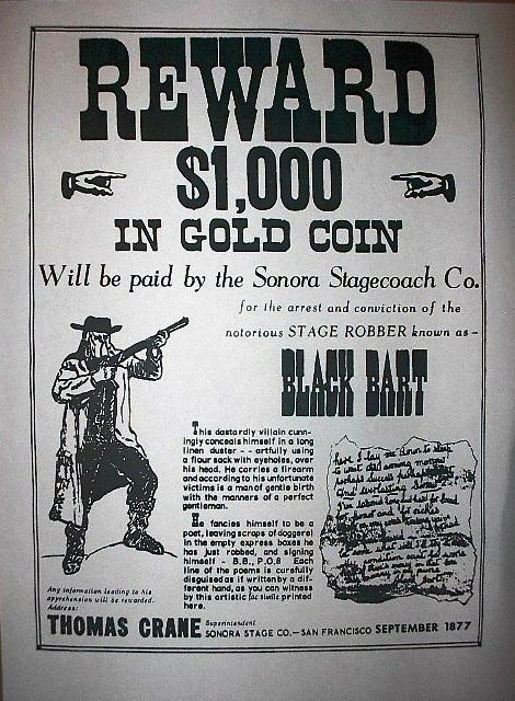 Old West Wanted Sign Unique 019 Old West Outlaw Black Bart Reward Wanted Broadside