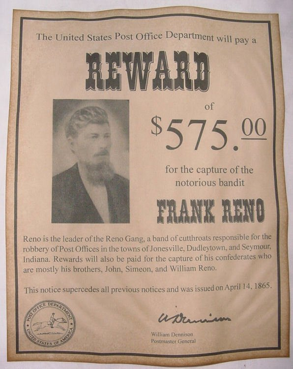 Old West Wanted Sign Unique Frank Reno Wanted Poster Western Outlaw Old West