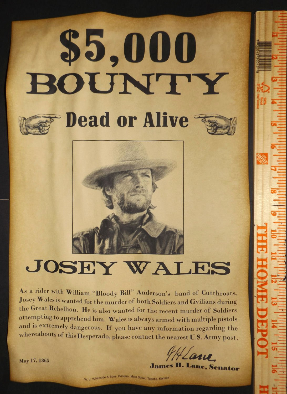 Old Western Wanted Poster Best Of Big 11 X 17 Josey Wales Wanted Poster Old West Western