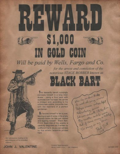 Old Western Wanted Poster Best Of Black Bart Wanted Poster Western Outlaw Old West
