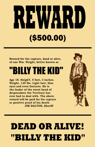 Old Western Wanted Poster Elegant Billy the Kid Wanted Mini Poster