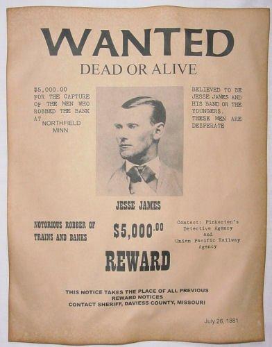 Old Western Wanted Poster Elegant Jesse James Wanted Poster Western Outlaw Old West