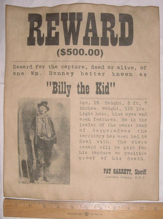 Old Western Wanted Poster Fresh Big 11 X 14 Billy the Kid Wanted Poster Old West Western
