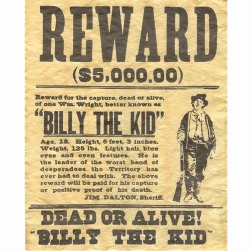 Old Western Wanted Poster Fresh Billy the Kid Wanted Dead or Alive Gun Outlaw Poster Old