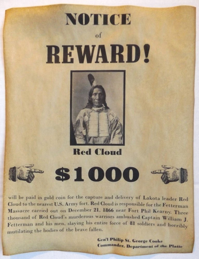 Old Western Wanted Poster Fresh Red Cloud Wanted Poster Western Old West Indian