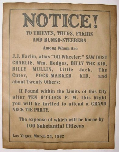 Old Western Wanted Poster Inspirational Necktie Party Warning Notice Poster Old West Western