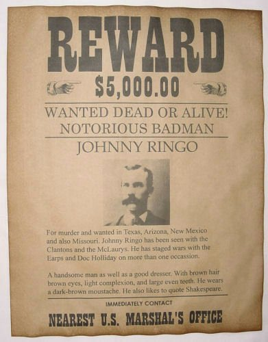 Old Western Wanted Poster Luxury Johnny Ringo Wanted Poster Western Outlaw Old West