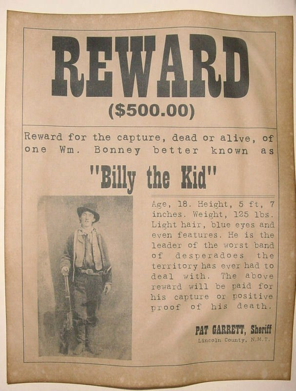 Old Western Wanted Poster New Billy the Kid Wanted Poster Western Outlaw Old West
