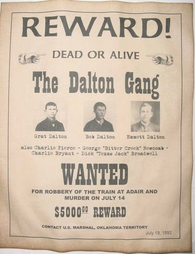 Old Western Wanted Poster New Dalton Gang Wanted Poster Western Outlaw Old West