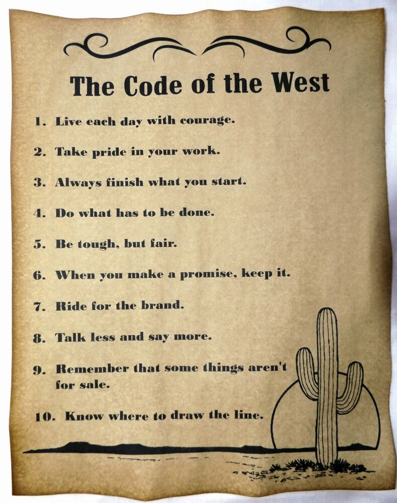 Old Western Wanted Poster New the Code Of the West Poster V3 Cowboy Cowgirl Western