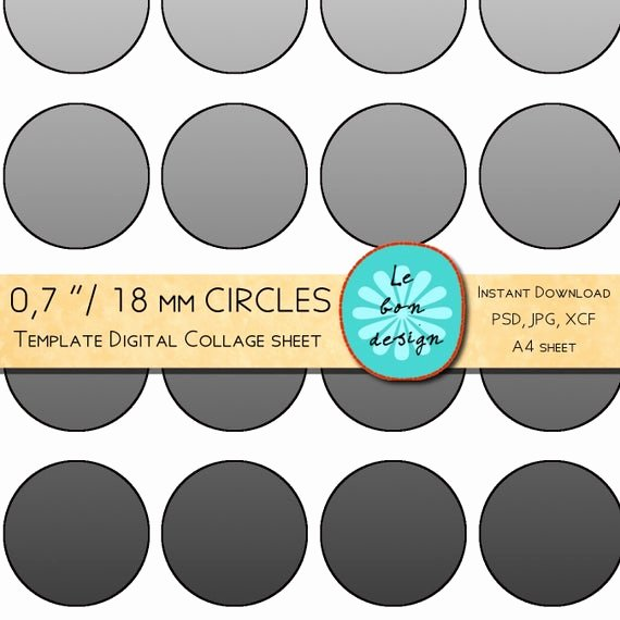 One Inch Circle Template Inspirational 07 Inch 18 Mm Circle Template 40 Circles Diy Collage Sheet