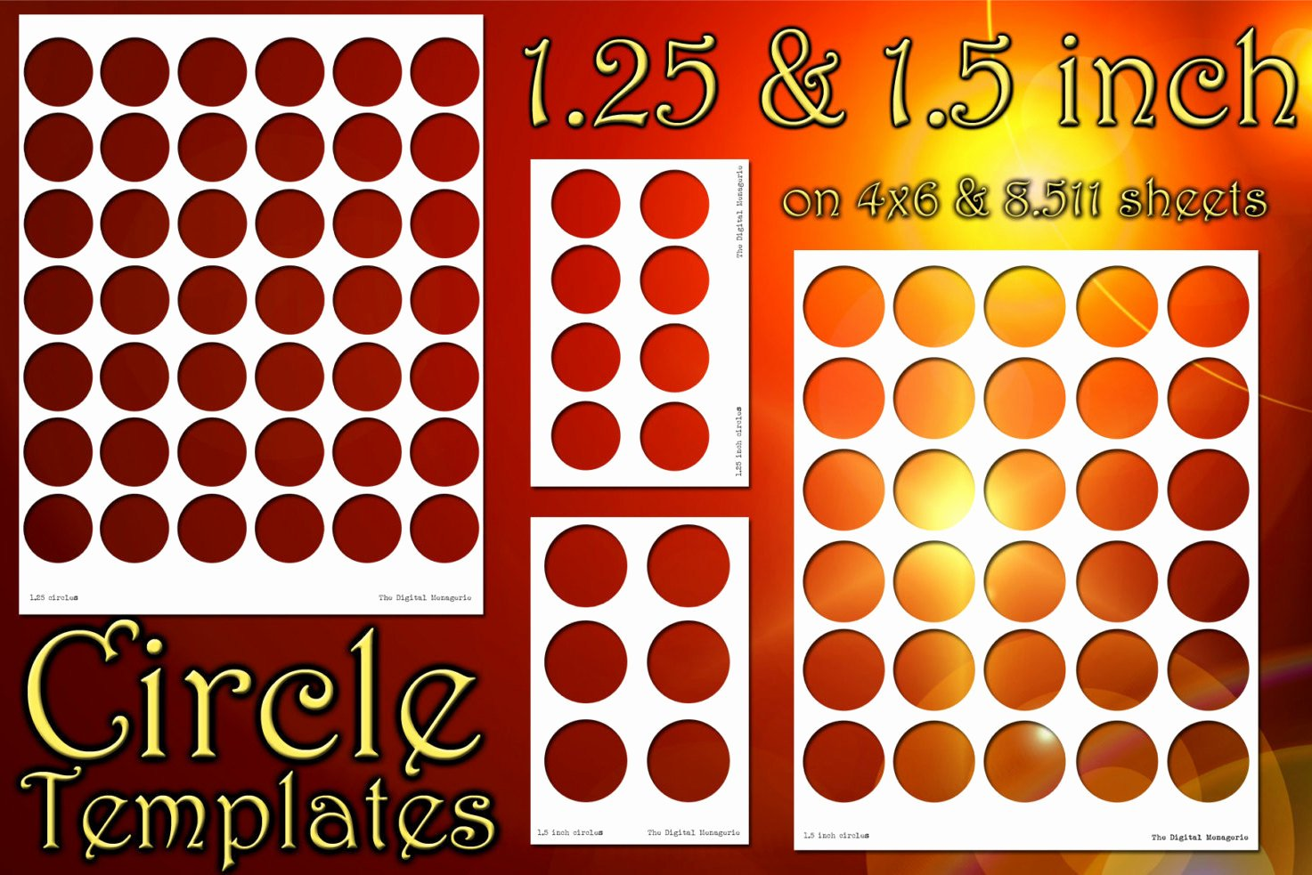 One Inch Circle Template Luxury 1 25 & 1 5 Inch Circle Templates 4x6 8 5x11 Sheets Png