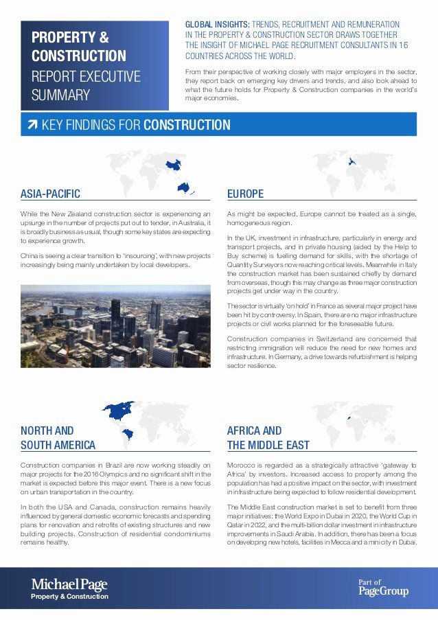 One Page Executive Summary Awesome Michael Page Property & Construction Executive Summary