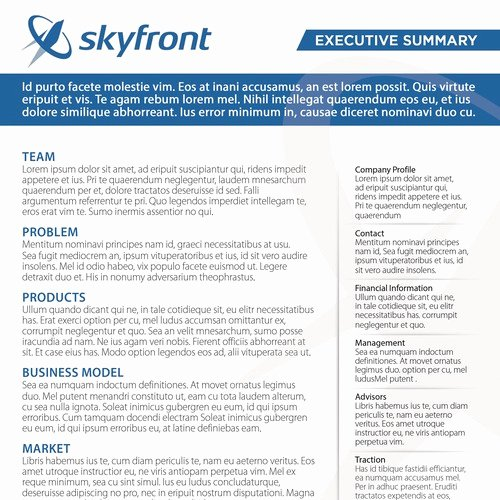 One Page Executive Summary Best Of Design A One Page Pany Summary for A Drone Pany