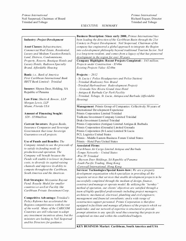 One Page Executive Summary Elegant Final Trinidad S One Page Executive Summary 5