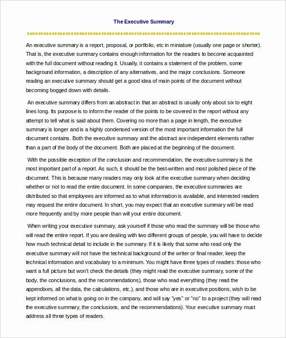 One Page Executive Summary Lovely 31 Executive Summary Templates Free Sample Example