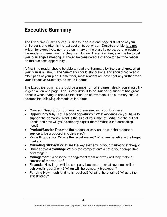One Page Executive Summary Lovely How to Write A Great Business Plan