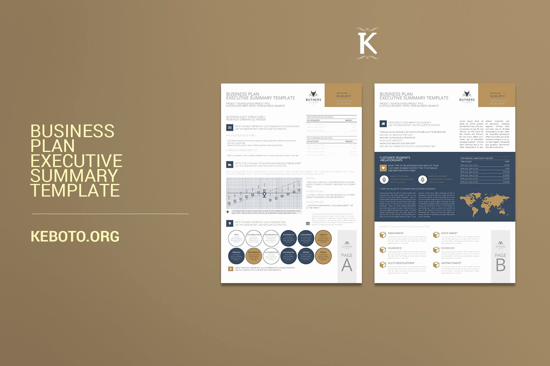 One Page Executive Summary Luxury Business Plan Executive Summary Templates Creative Market