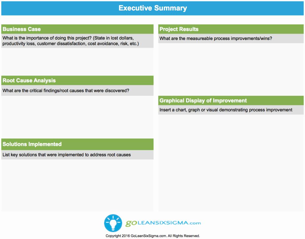 One Page Executive Summary New Executive Summary Goleansixsigma