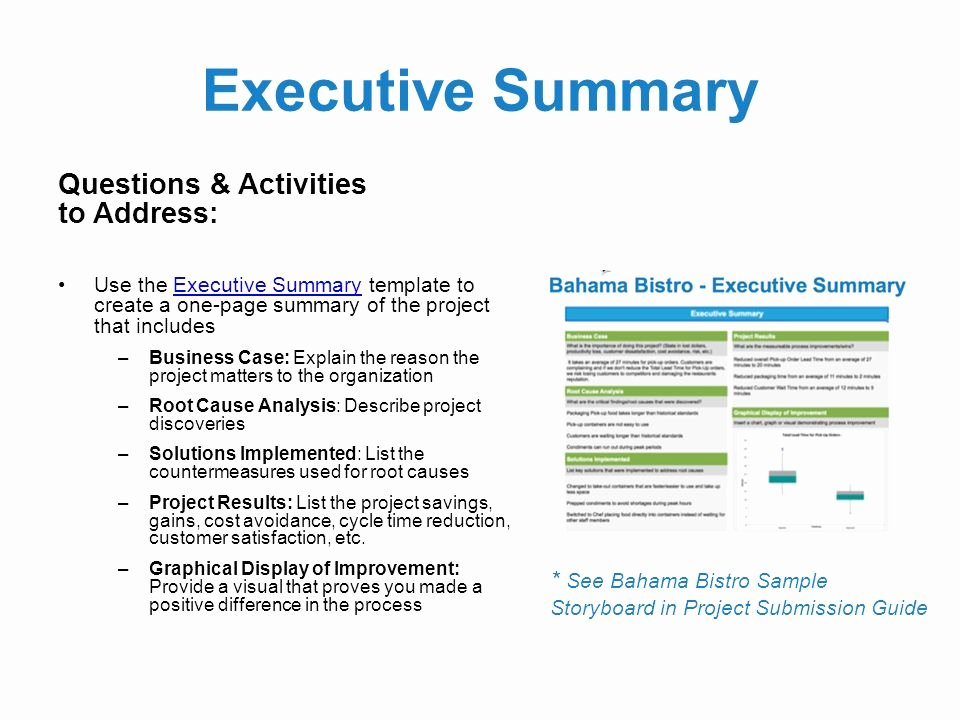 One Page Executive Summary Sample Fresh Black Belt Project Storyboard Template Can Be Used In