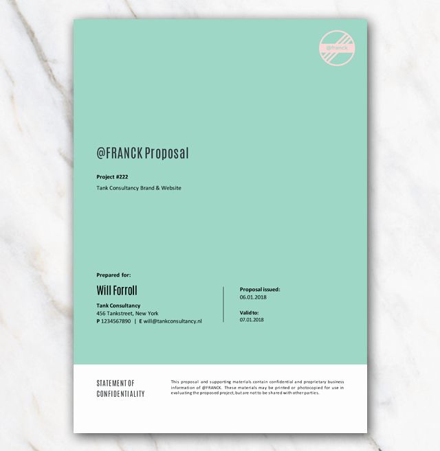 One Page Project Proposal Template Beautiful New Business Project Proposal Template In Word for Free