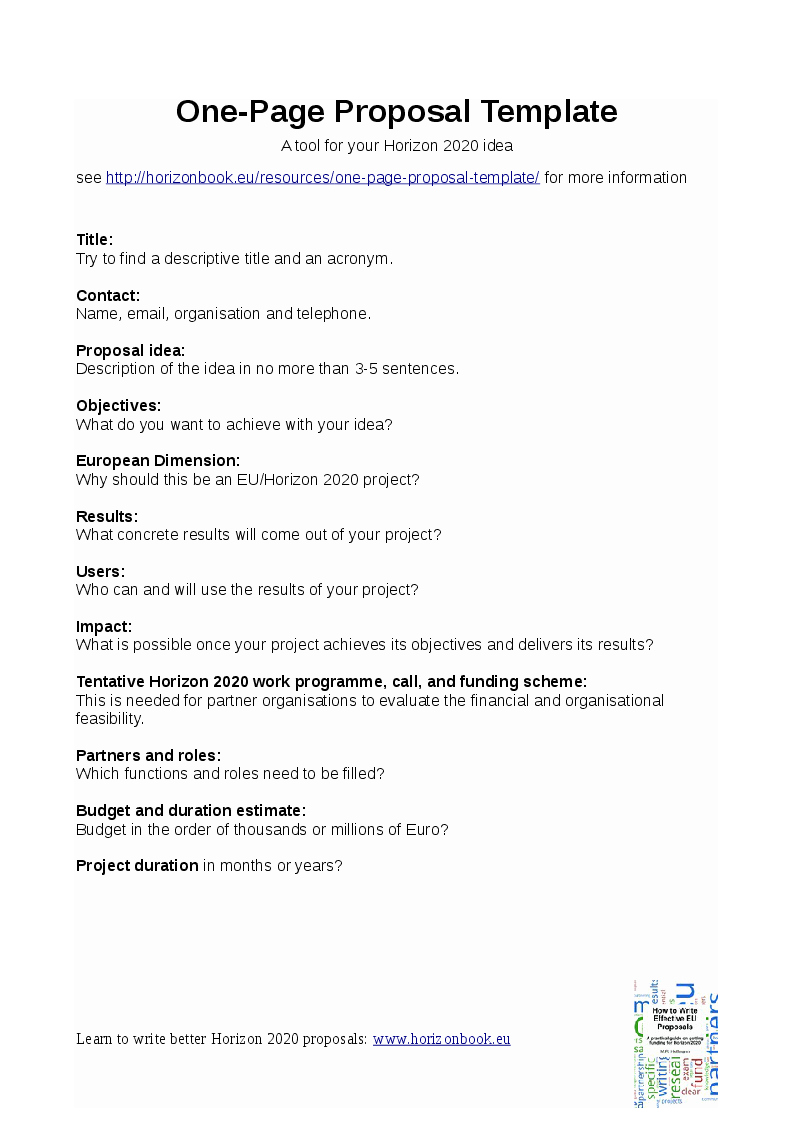 One Page Project Proposal Template Fresh Horizonbook One Page Template Preview Grants