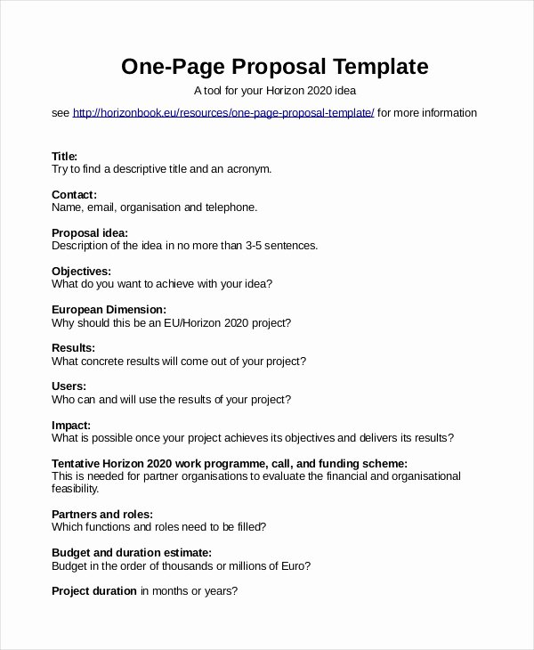 One Page Project Proposal Template Fresh Proposal Template 31 Free Word Pdf Indesign format
