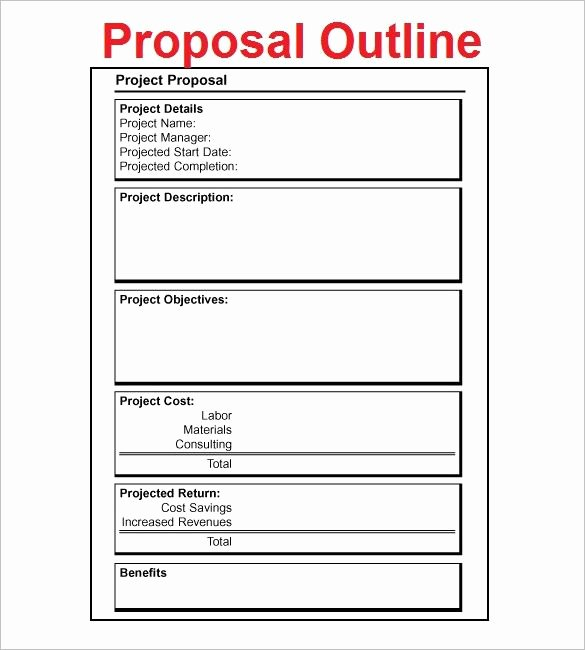 One Page Project Proposal Template Lovely Proposal Outline Template – 9 Free Free Word Pdf format