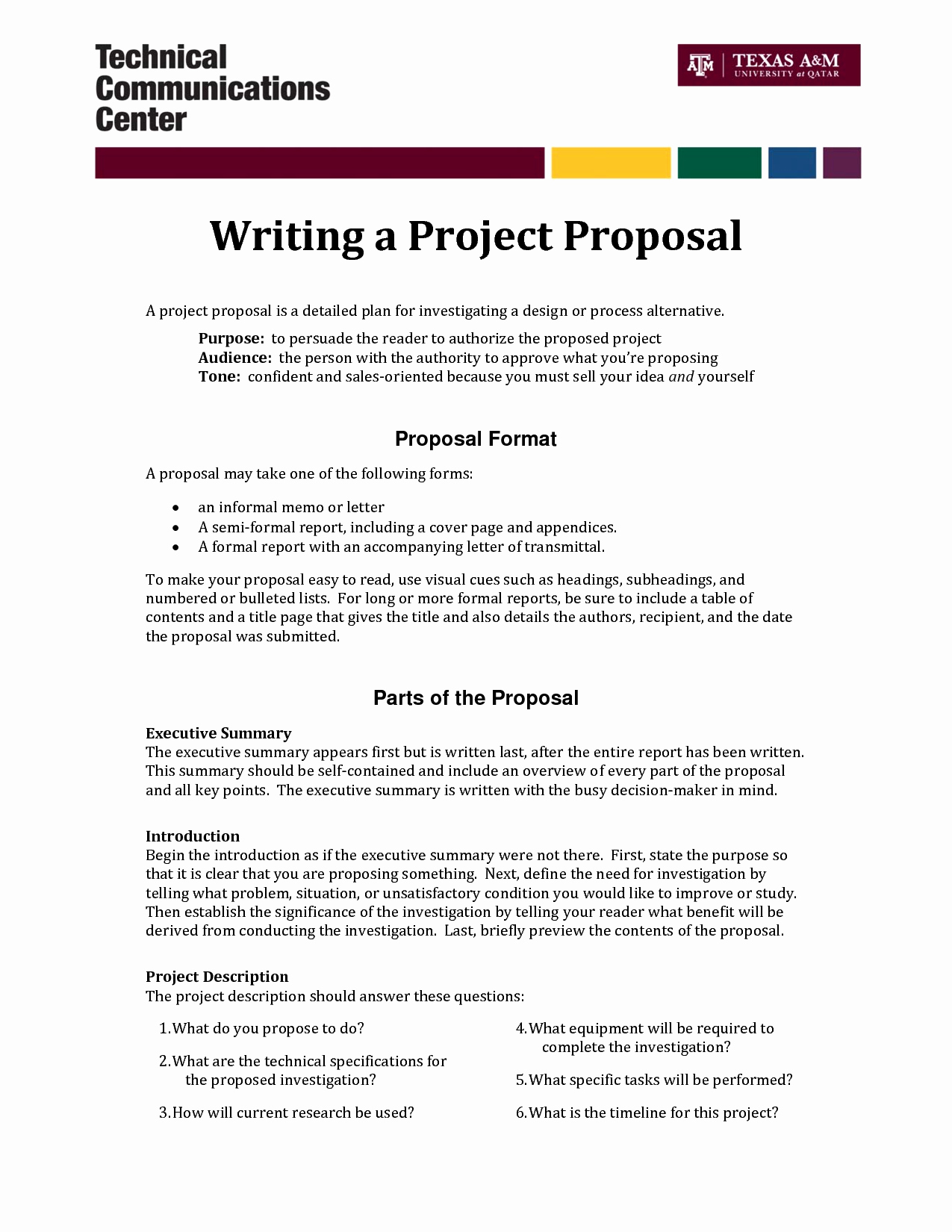One Page Project Proposal Template New Informal Proposal Letter Example