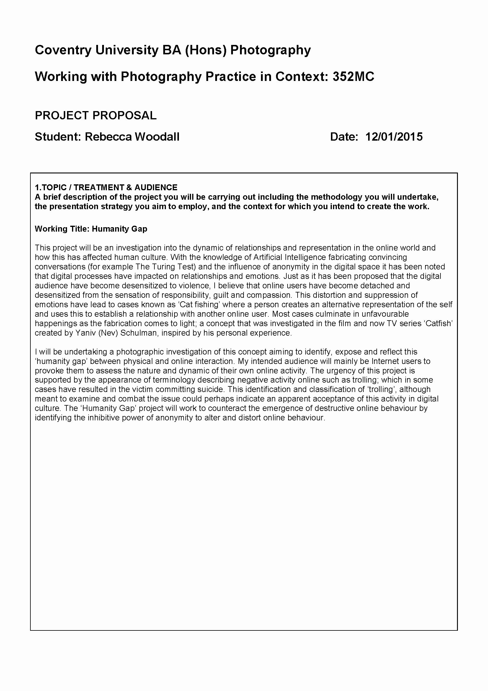 One Page Project Proposal Template Unique Introduction and Initial Proposal – Rebecca Woodall