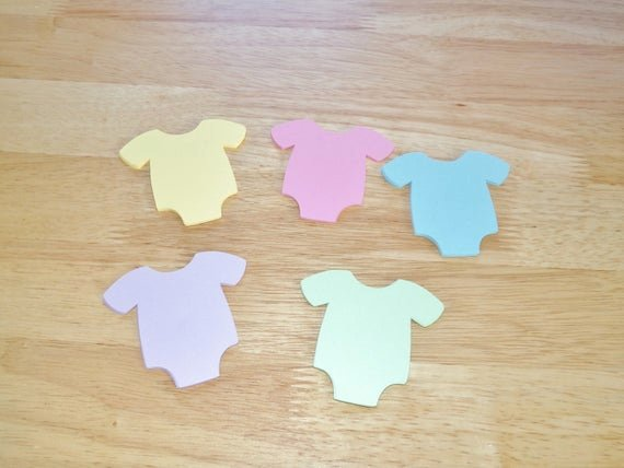 Onesie Paper Cut Out Awesome Baby Shower Die Cut Paper Esie Romper Pastel Pink Blue