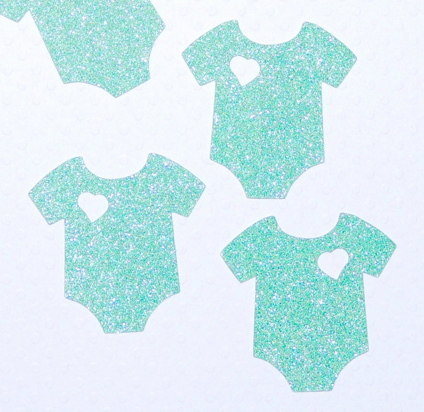 Onesie Paper Cut Out New Baby Esie Lite Green Glitter Die Cut Out Handmade Scrapbook