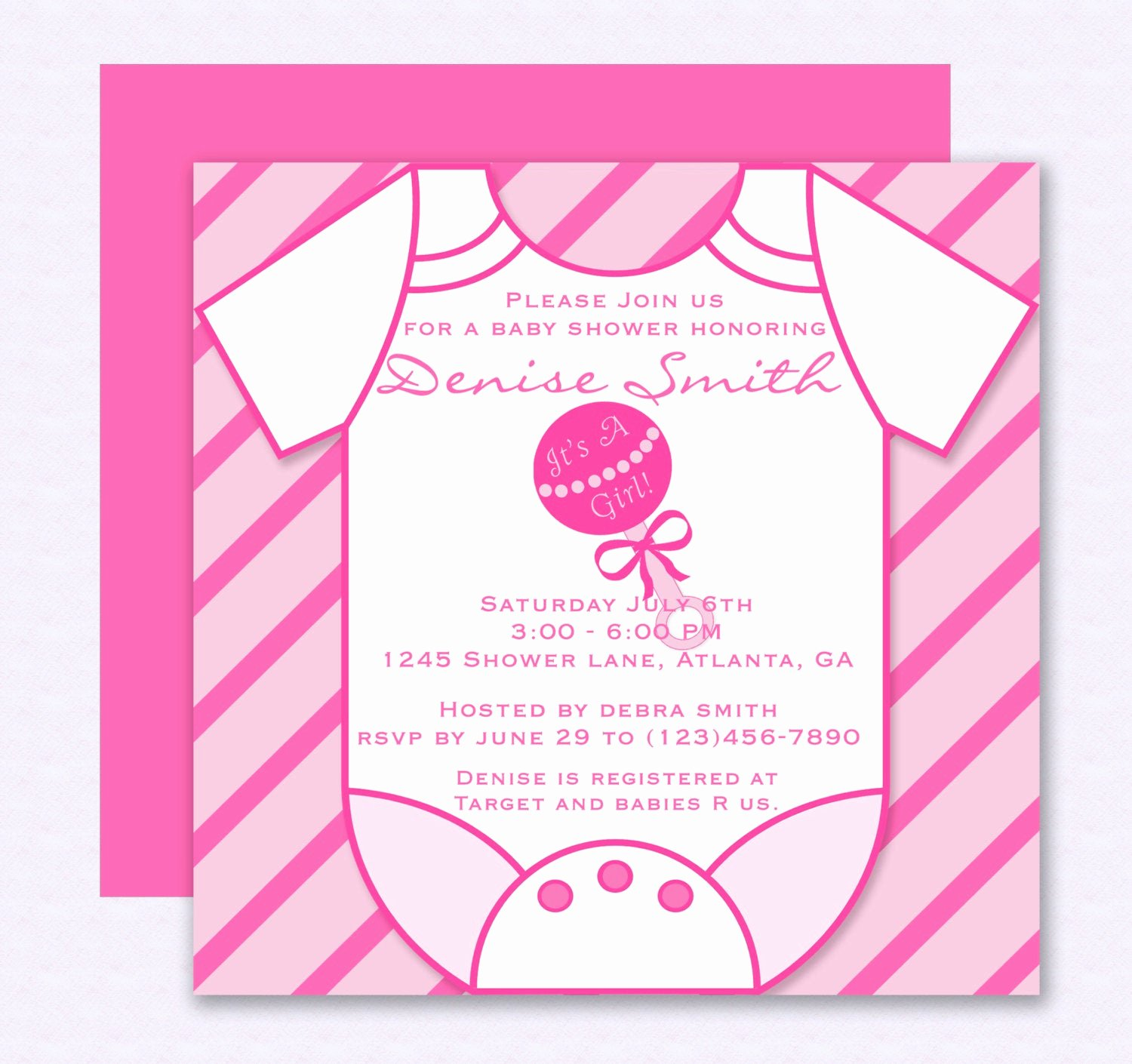 Onesie Template for Baby Shower Awesome Pink Esie Baby Shower Invitation Editable Template