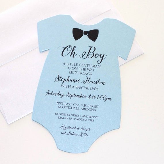 Onesie Template for Baby Shower Best Of Baby Shower Esie Invitation Blue Shower Invitation Baby
