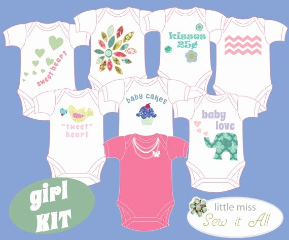 Onesie Template for Baby Shower Fresh Baby Shower Diy Esie Party Kit with Fabric for A Girl Baby