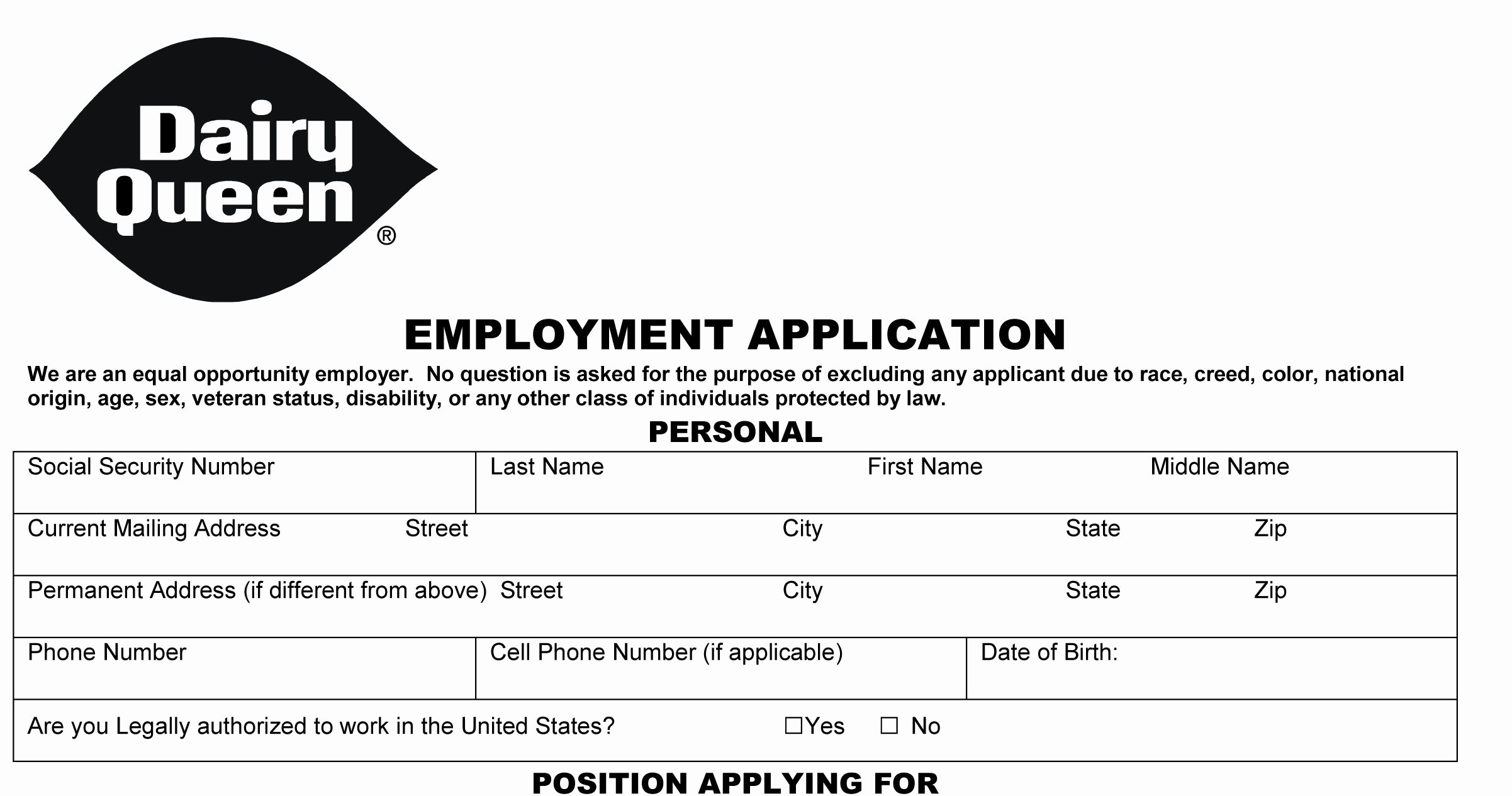 Online Printable Job Applications Awesome Dairy Queen Job Application Printable Employment Pdf forms