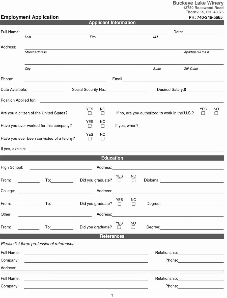 Online Printable Job Applications Beautiful 50 Free Employment Job Application form Templates