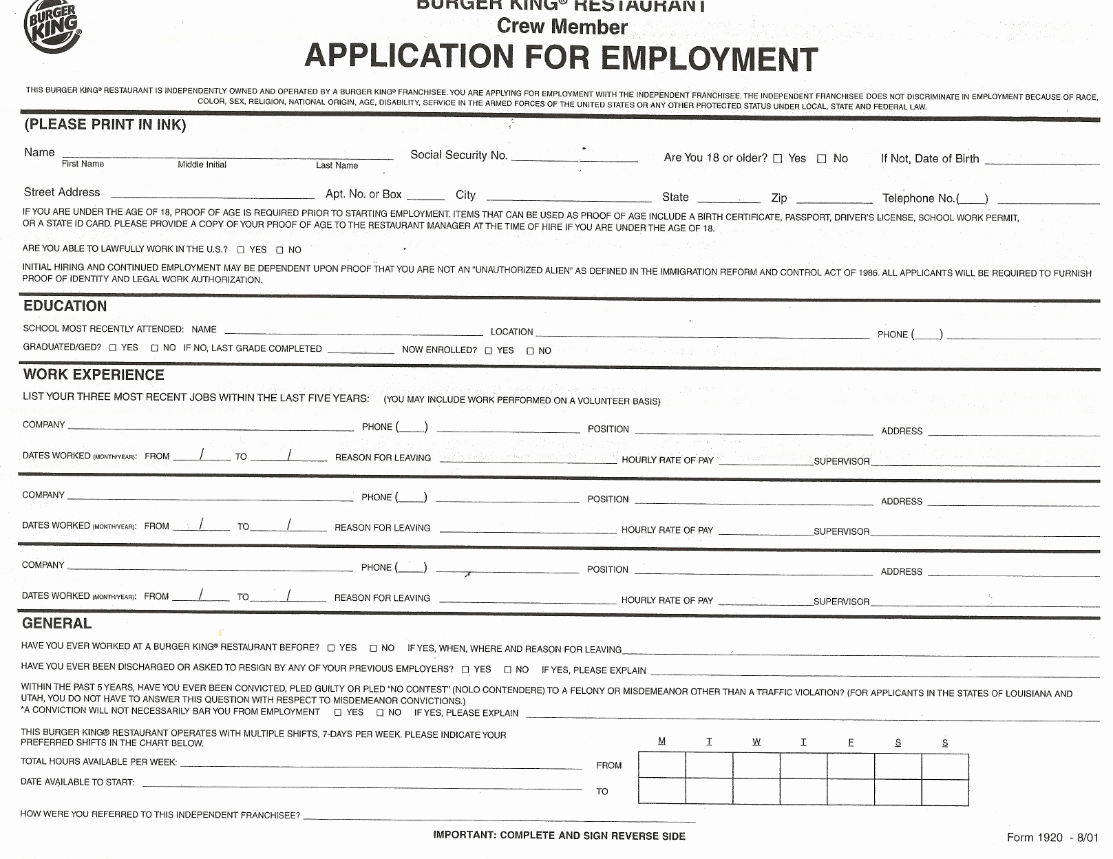 Online Printable Job Applications Beautiful Download Burger King Job Application form – Careers