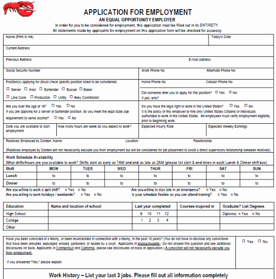 Online Printable Job Applications Inspirational Printable Hooters Application