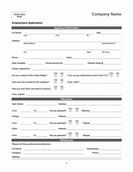 Online Printable Job Applications Lovely Employment Application Online