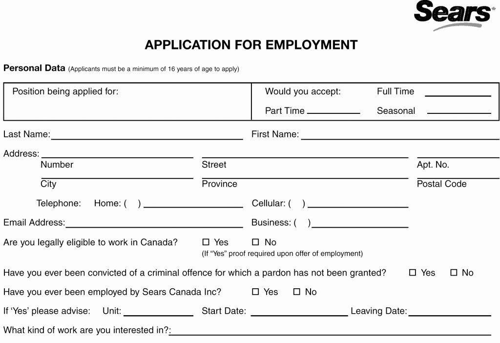 Online Printable Job Applications Luxury Sear S Job Application Line Apply Through Printable Pdf