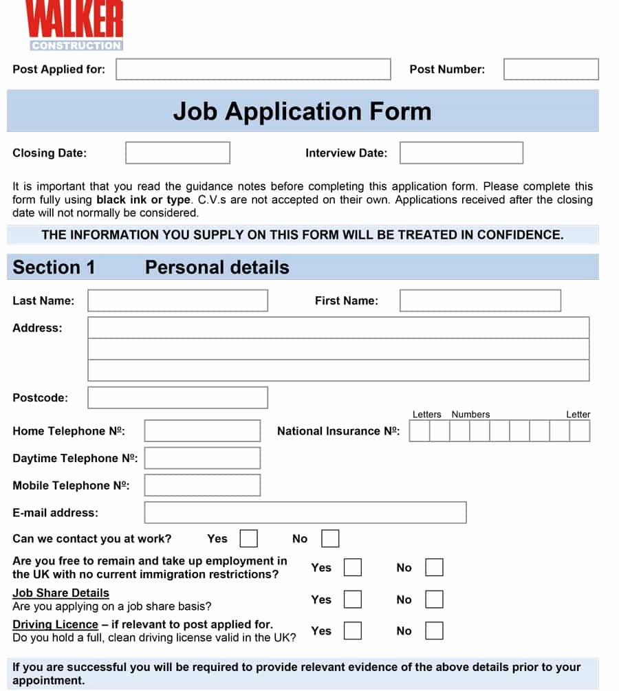 Online Printable Job Applications New 50 Free Employment Job Application form Templates