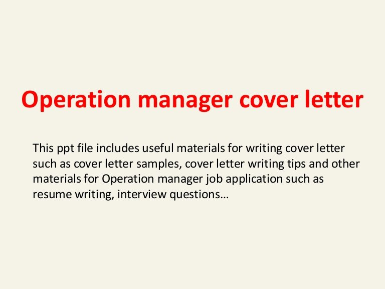 Operation Manager Cover Letter Best Of Operation Manager Cover Letter