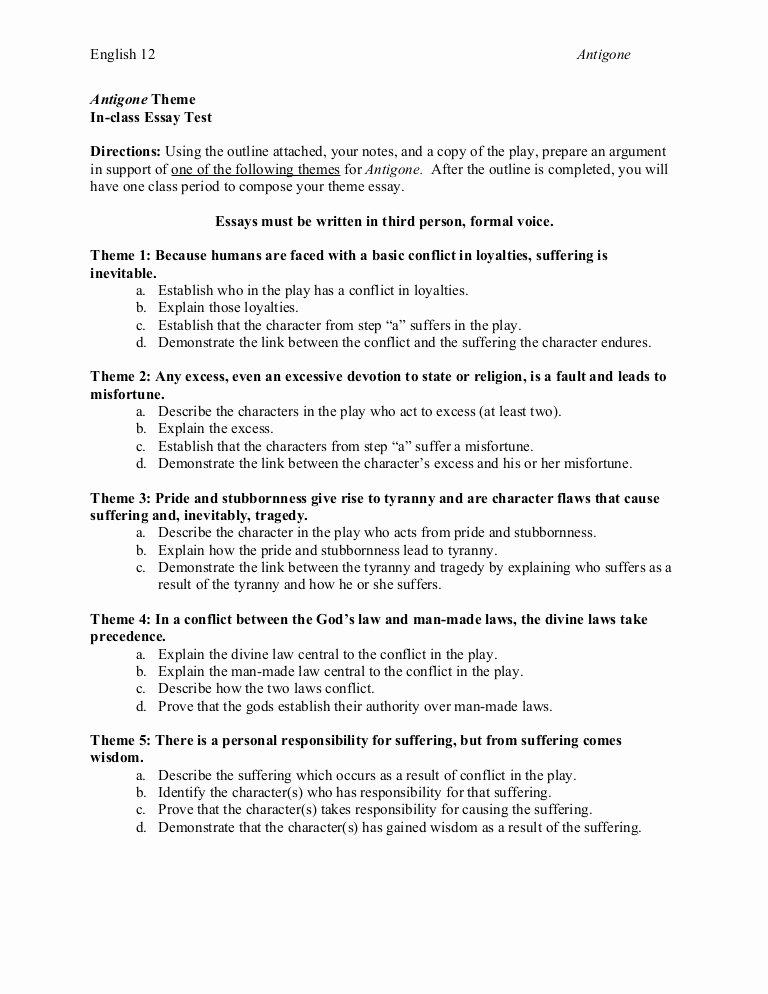 Outline format for Essay Lovely Antigone theme Essay