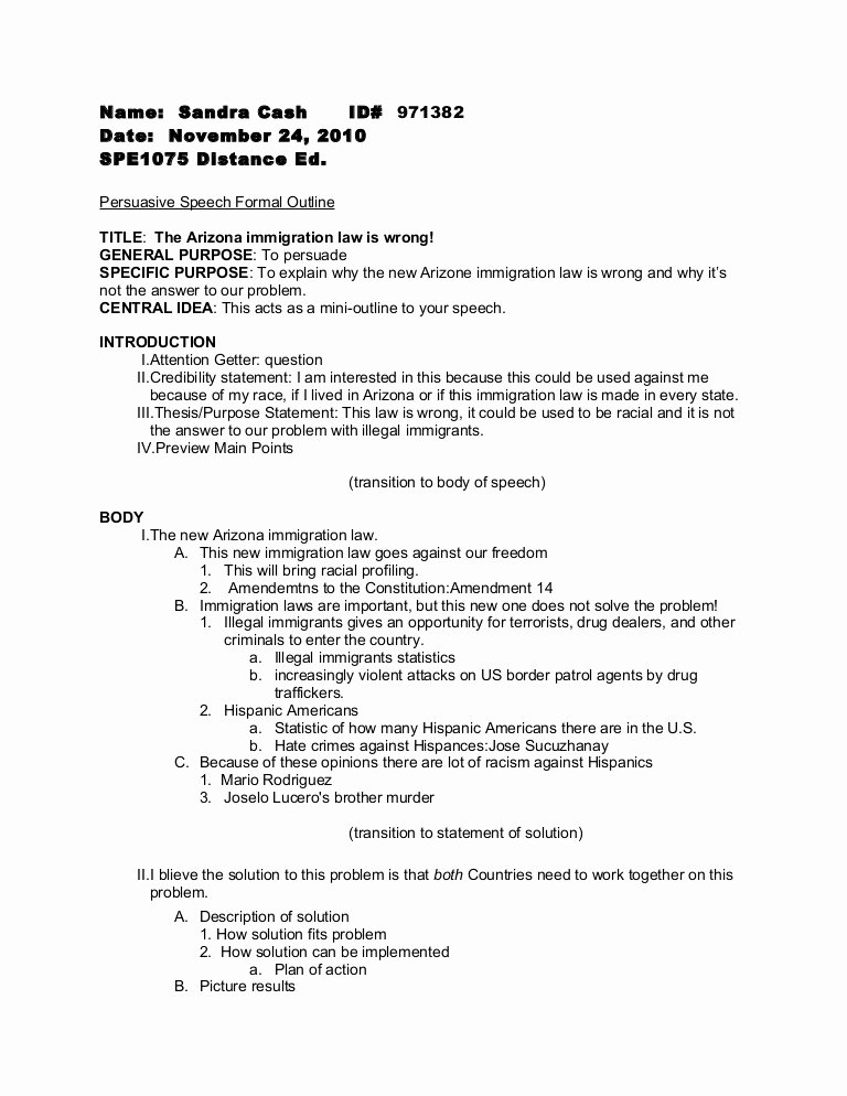 Outline format for Essay Lovely Persuasive Speech formal Outline