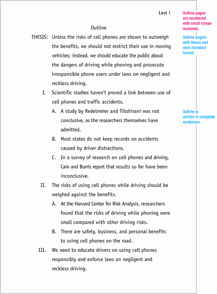 Outline Template for Essay Awesome Mla format Sample Paper with Cover Page and Outline