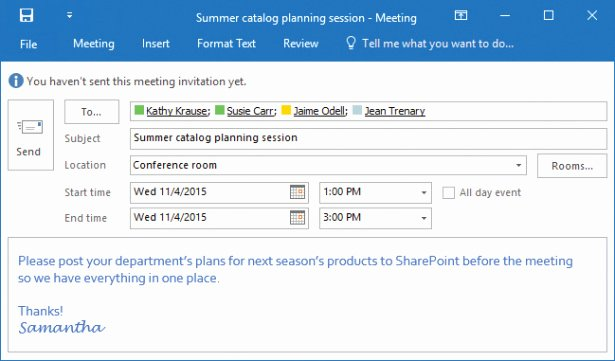 Outlook Meeting Invite Template Best Of Manage Scheduling In Microsoft Outlook 2016
