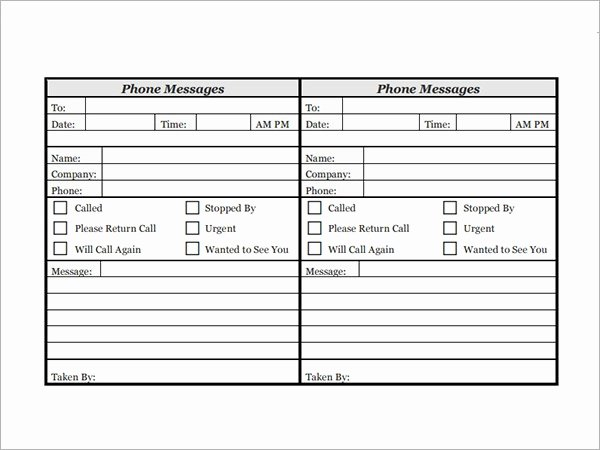 Outlook Phone Message Template Lovely Phone Message Template