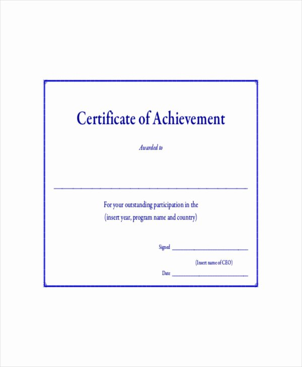 Outstanding Achievement Award Template Fresh Certificate Achievement Template 10 Pdf Word Ai